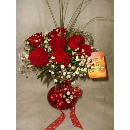 Jarra balão de rosas vermelhas