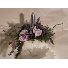 Centro de Flores Christmas Violet em taça de Vidro