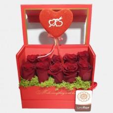 Caixa vermelha do amor e paixão