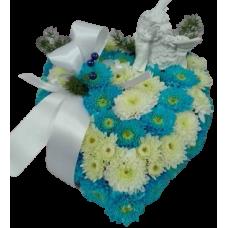 Coração pequeno azul com anjo marfinite
