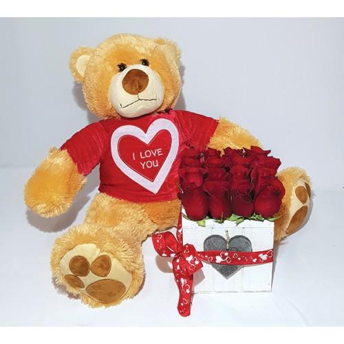 Cubo de Rosas Vermelhas e Peluche para dia dos namorados